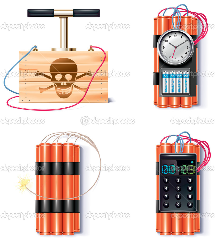 Set of explosives with different triggers and detonator — Imagen vectorial #9046326