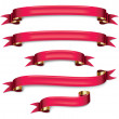 Vector red ribbons set — Stock Vector