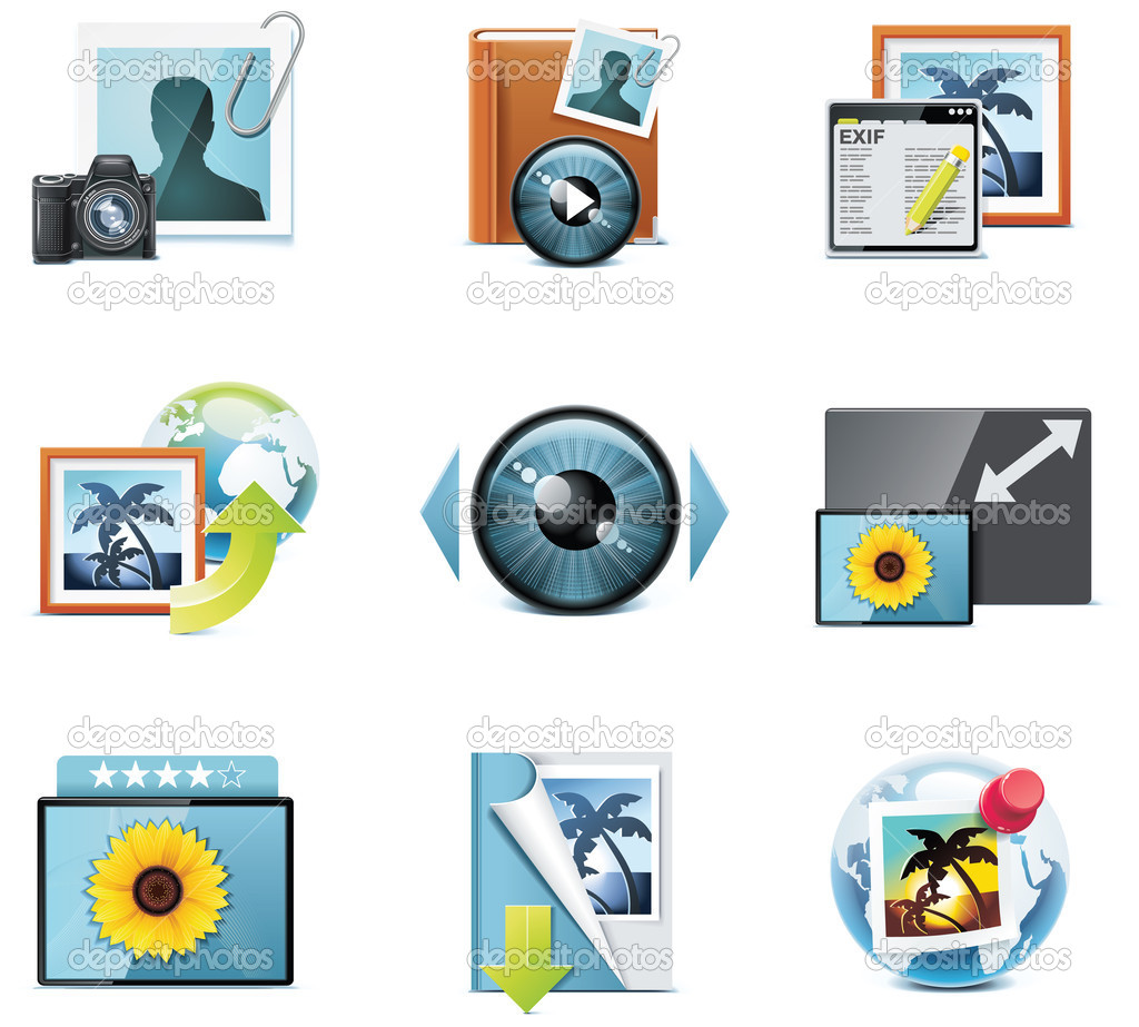 Set of the detailed photo equipment related icons — Stock Vector #9110387
