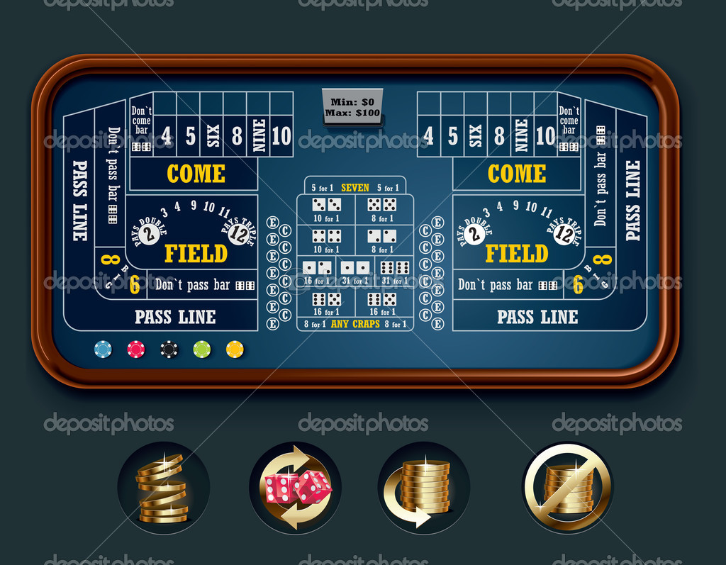 Detailed craps casino table with icons  Image vectorielle #9111146