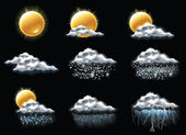 Vector weather forecast icons. Part 1 — Stock Vector