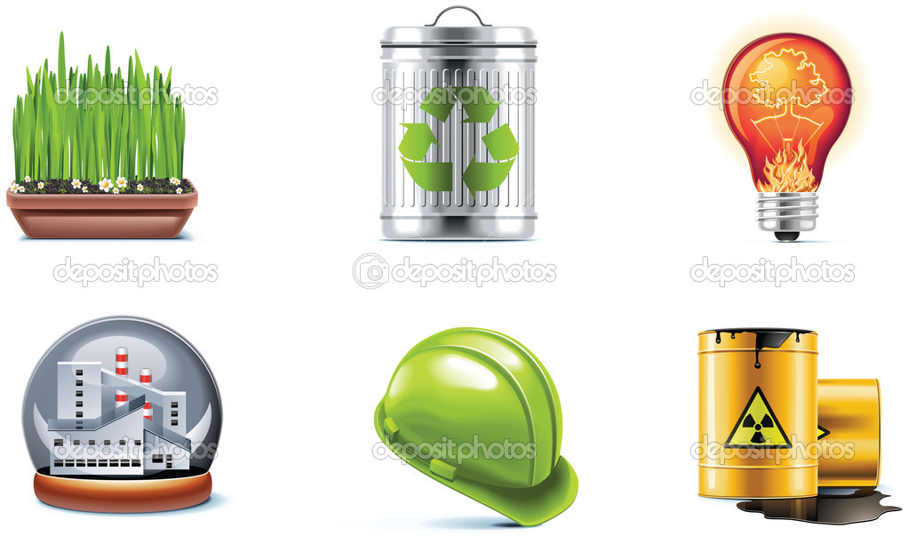 Set of the ecology and industry related icons — Stock Vector #9137351