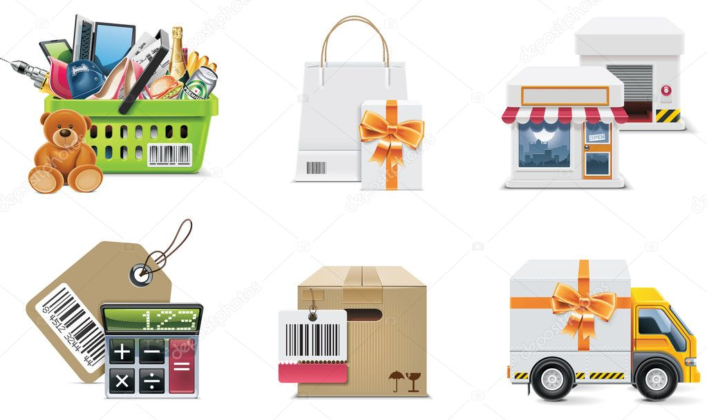 Set of the shopping illustrations and design elements  Imagens vectoriais em stock #9142108