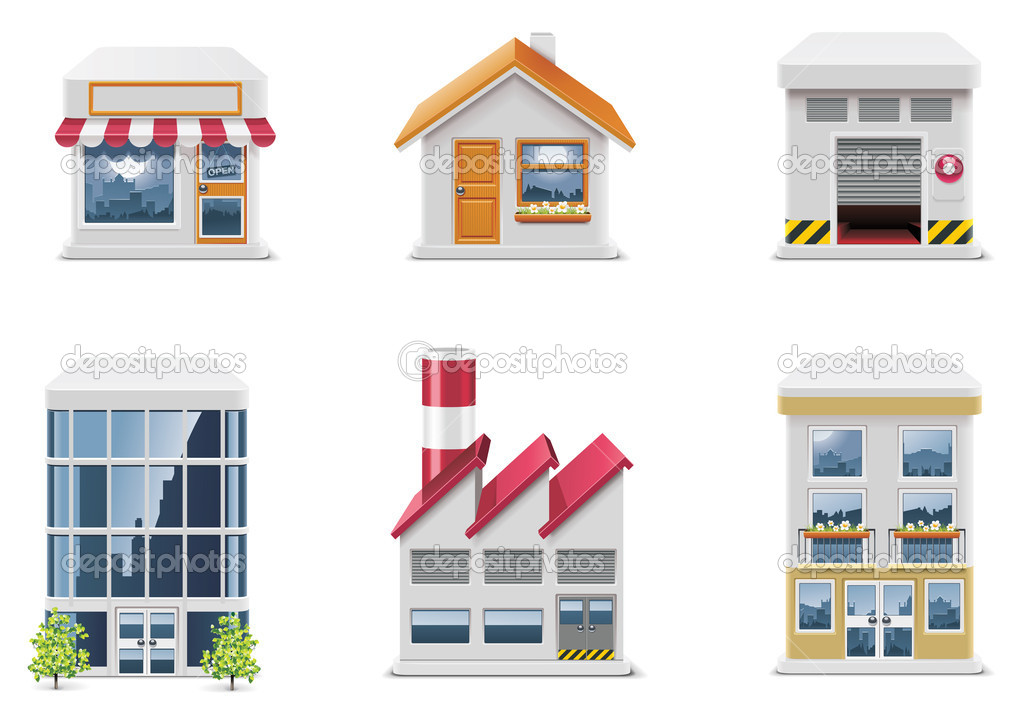 Set of the real estate related icons  Stock Vector #9177570