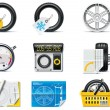 Car service icons. Part 1. Tires — ストックベクタ