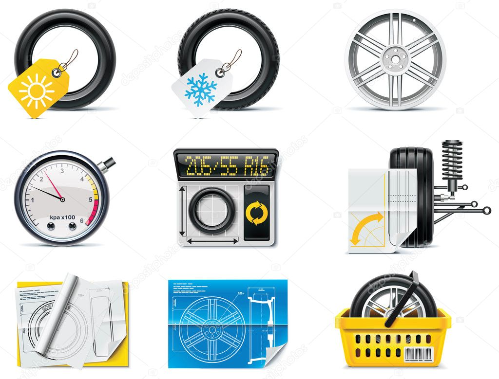 Set of the car repair and maintenance related icons — Stock Vector #9219163