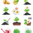 Vector gardening icon set - Stock Vector
