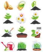 Vector gardening icon set — Stock Vector