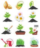 Vector conjunto de iconos de jardinería — Vector de stock