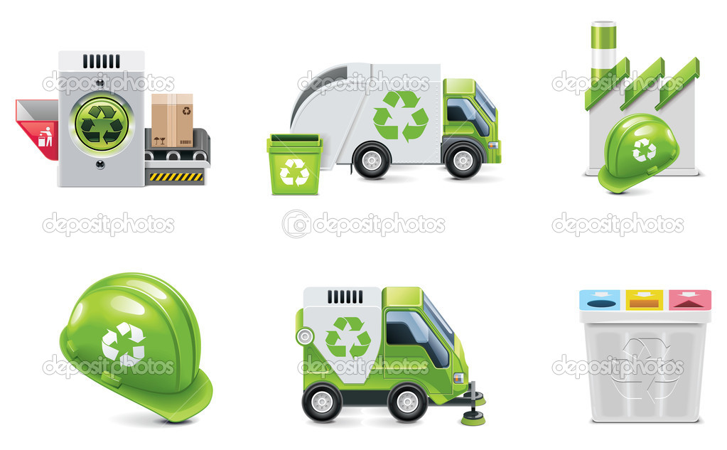 Set of the trash recycling related icons — Stock Vector #9224401