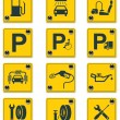 services routiers signes icon set Vector. partie 1 — Vecteur