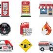 Vector gas station icon set - Vettoriali Stock 