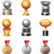Vector sport trophies and medals icon set — Stock Vector
