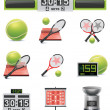 Vector tennis icon set - Stock Vector