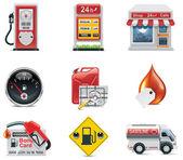 Conjunto de iconos de vector de la gasolinera — Vector de stock