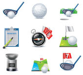 Vector golf icon set — Stock Vector
