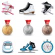 Vector ice skating icon set - Stock Vector