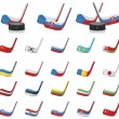 Vector ice hockey sticks-country flags. Part 1 — 图库矢量图片