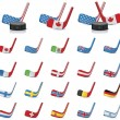Vector ice hockey sticks-country flags. Part 2 — Stock Vector