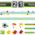 Vector soccer match timeline — Stock Vector