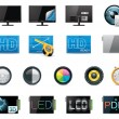Vector TV features and specifications icon set - Stock Vector