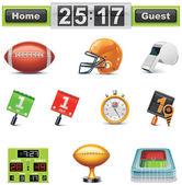 Set di icone vettoriali calcio statunitense-graticola. parte — Vettoriale Stock