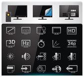 Vector conjunto de icono tv características y especificaciones — Vector de stock
