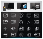 Vector TV features and specifications icon set — Stock Vector