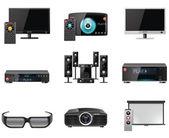 équipement vidéo icon set vector — Vecteur