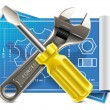 Vector wrench and screwdriver on blueprint XXL icons — Stockvectorbeeld