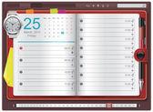 Vector open personal organizer template — Stock Vector