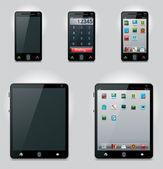 Tablet pc y teléfono móvil iconos vectoriales — Vector de stock