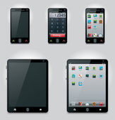 Vector tablet computer and mobile phone icons — Vector de stock