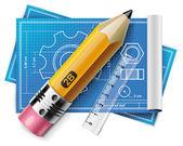 Vektorové technické kreslení xxl ikona — Stock vektor