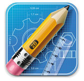 Vector technical drawing square XXL icon — 图库矢量图片