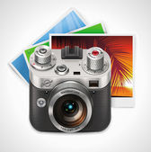 Vector retro camera and photos XXL icon — Stock Vector