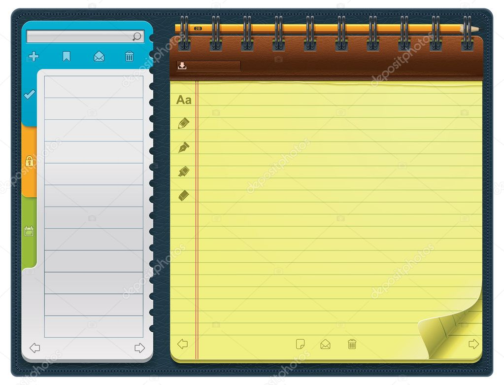 Detailed horizontal notepad template - can be used for application or website — Stock Vector #9261272