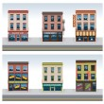 Vector city buildings icon set — Stock Vector