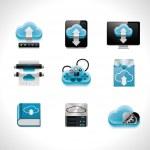 Vector conjunto de iconos de la computación en nube — Vector de stock  #9351314