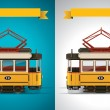 Vector retro tram XXL icon — Stock Vector