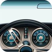 Vector car dashboard square icon — Stock Vector