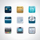 Credit card square icon set — Stock Vector