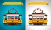 Vector retro tram XXL icon — Stock Vector