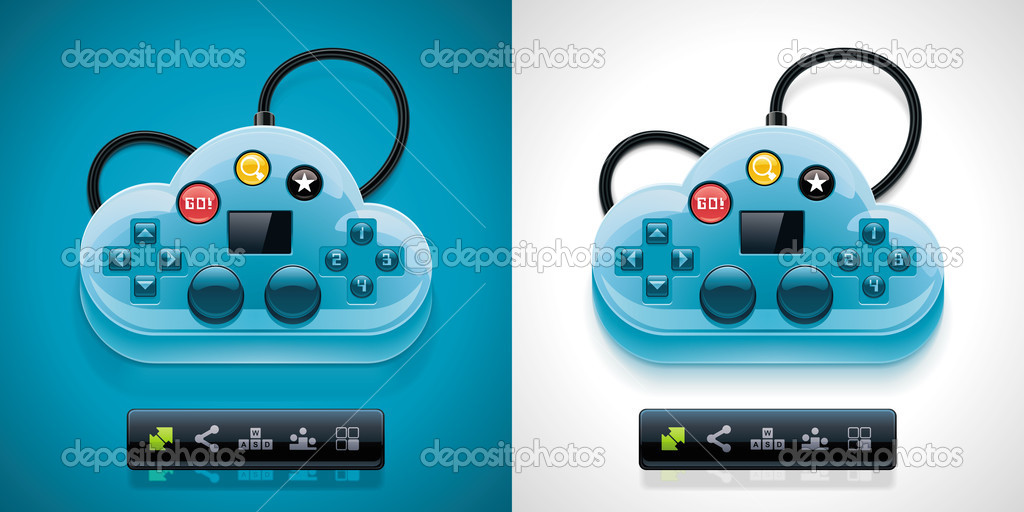 Detailed joypad styled cloud with cloud gaming related pictograms — Stock Vector #9351325