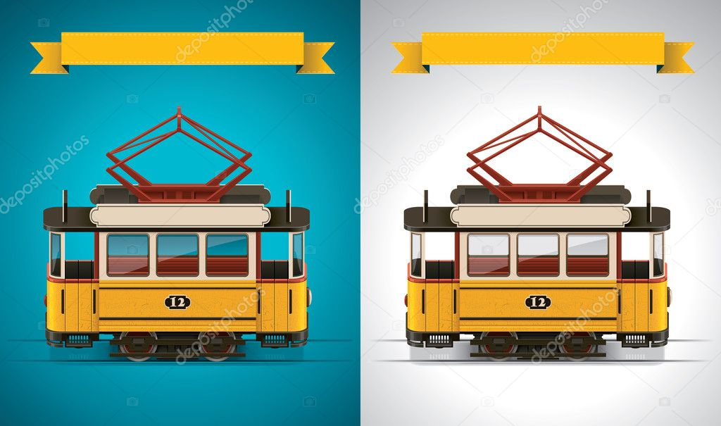 Detailed old tramway on white and blue backgrounds — Stock Vector #9351703