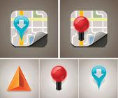 Carte icon set vector — Vecteur
