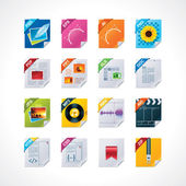 Datei-etiketten-icon-set — Stockvektor