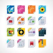 Filen etiketter ikonuppsättning — Stockvektor