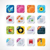 Kwadrat plik etykiety ikony zestaw — Wektor stockowy