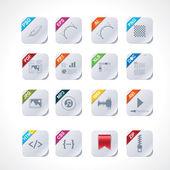 Enkel kvadratisk fil etiketter ikonuppsättning — Stockvektor